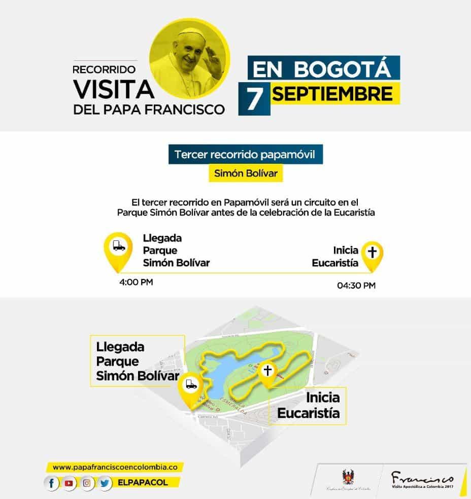 Tercer recorrido del papa en Bogotá