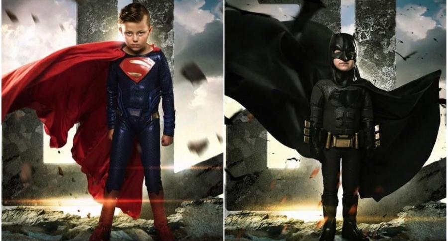 Niños vestidos de Superman y Batman.