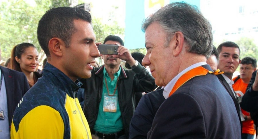 Éider Arévalo y Juan Manuel Santos