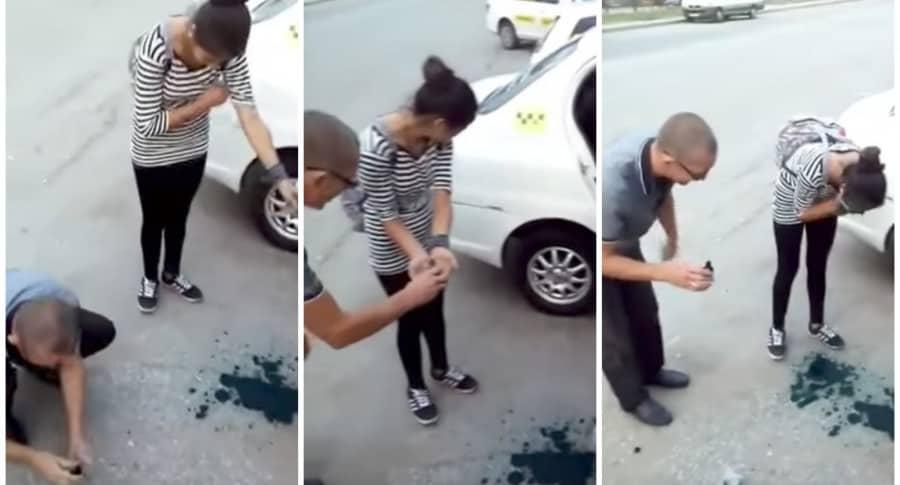 Taxista obliga a pasajeras a echarse antiséptico verde en la cara. Pulzo.