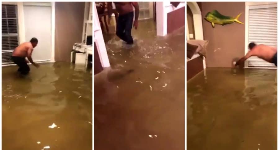 Hombre pescando en su casa, tras paso del huracán Harvey. Pulzo.