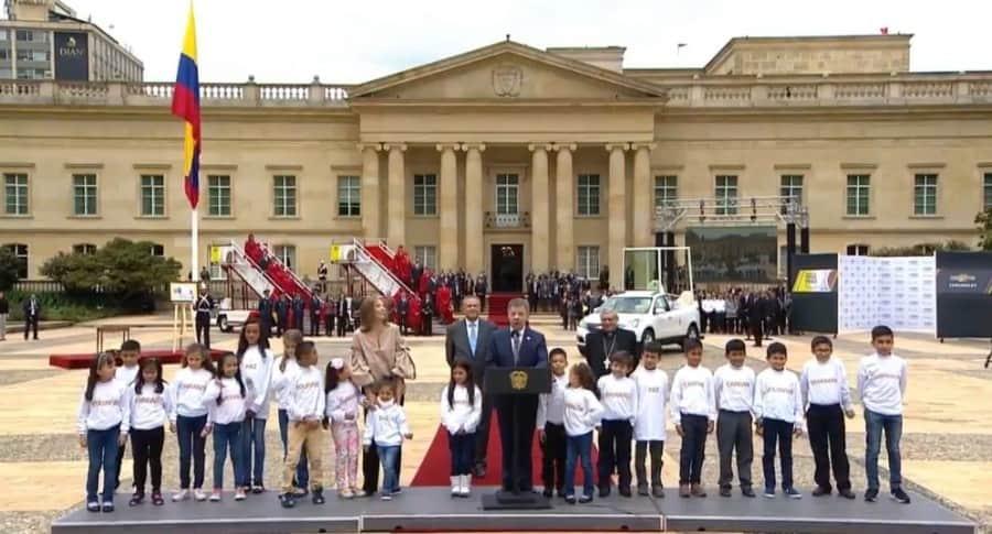 Presidente Juan Manuel Santos durante la oficialización de la visita del papa Francisco