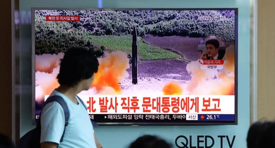 Lanzamiento de misil norcoreano por televisión