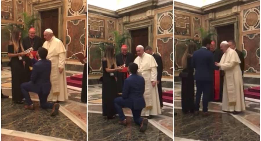 Joven pide matrimonio en frente del papa.