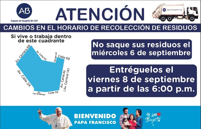 Cambios de horarios en Teusaquillo y otras localidades
