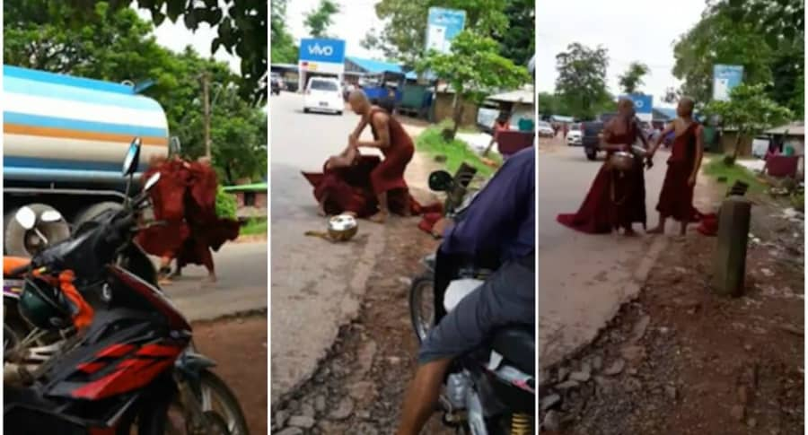 Monjes budistas pelean.