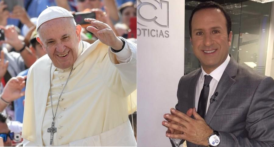 El papa Francisco y Felipe Arias, presentador de RCN.
