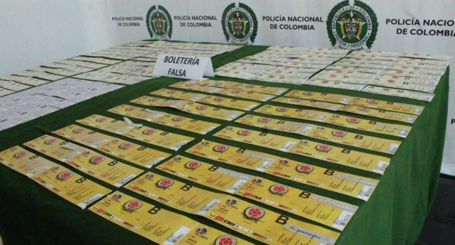 Boletería falsa incautada en Barranquilla