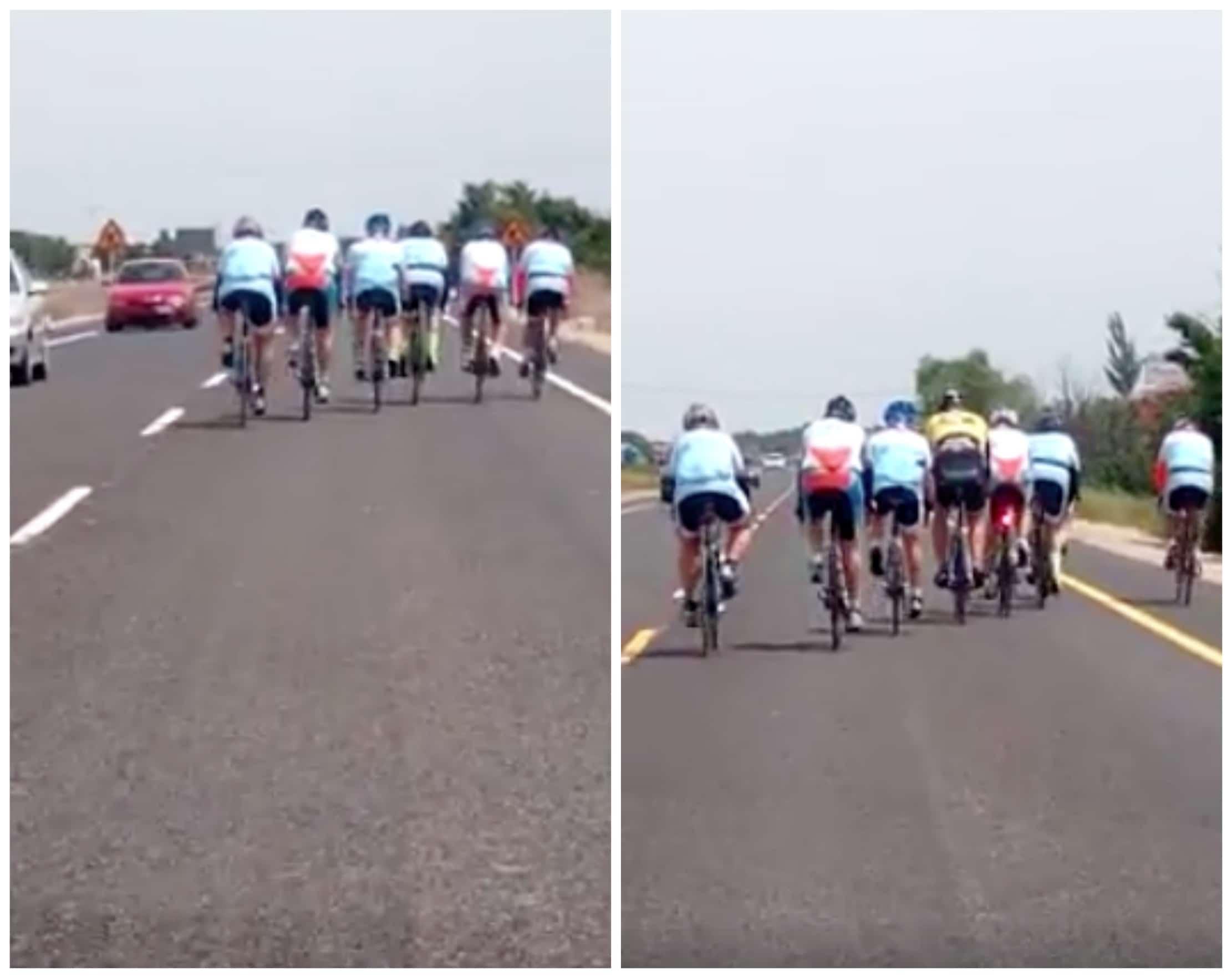 Ciclistas que invadieron todo el carril de una vía. Pulzo.