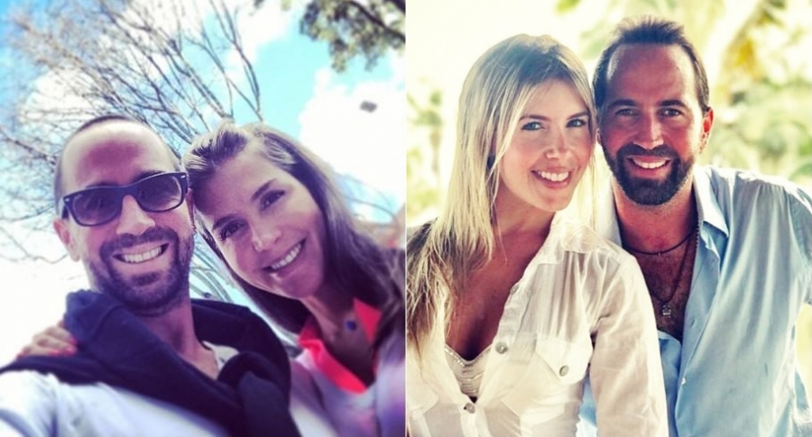 El cantante Lucas Arnau junto a su exesposa, la actriz Isabel Cristina Estrada (izq.), y su actual novia, la modelo Catalina Pérez (der.)
