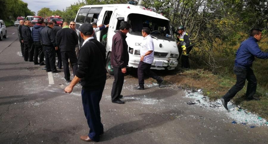 Accidente de ruta escolar en norte de Bogota