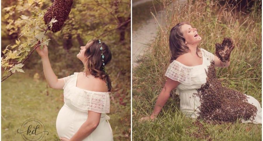 Mujer embarazada posa con abejas.