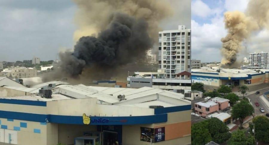 Incendio en centro comercial Único