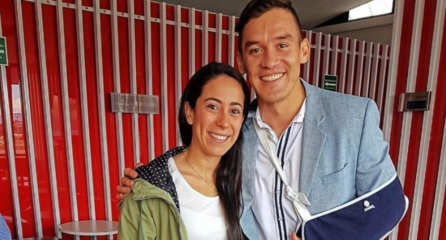 Mariana Pajón y Carlos Oquendo