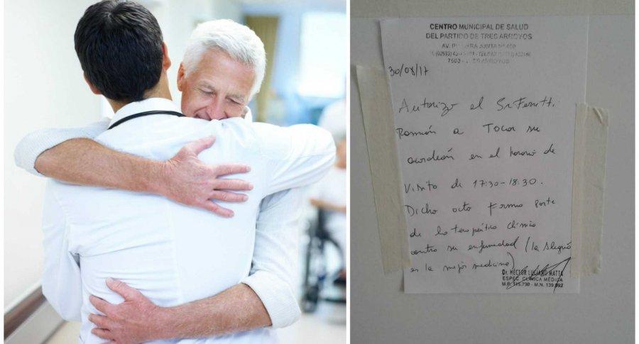 Médico abraza a su paciente.Pulzo.