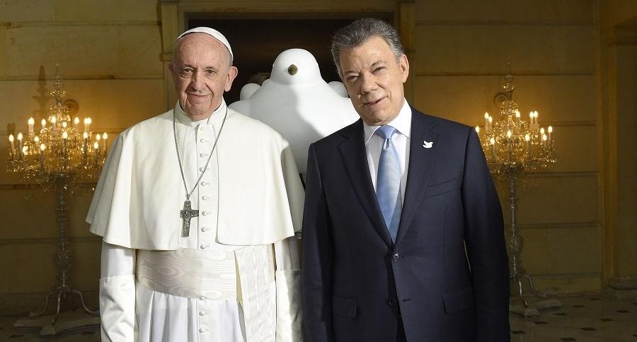 Papa Francisco y Juan Manuel Santos, presidente de Colombia