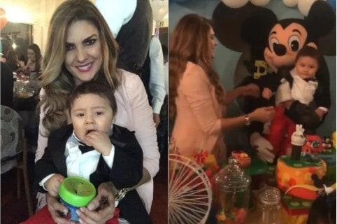 Ana Karina Soto, presentadora de RCN, y su hijo Dante.