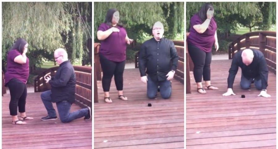 Hombre pierde anillo de compromiso en un estanque. Pulzo.