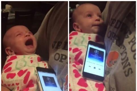 Bebé que deja de llorar cuando escucha el himno de la Champions League. Pulzo.