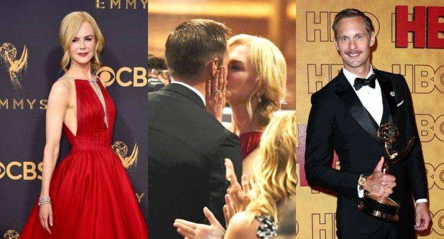 Beso de Nicole Kidman y Alexander Skarsgard en los Premios Emmy 2017