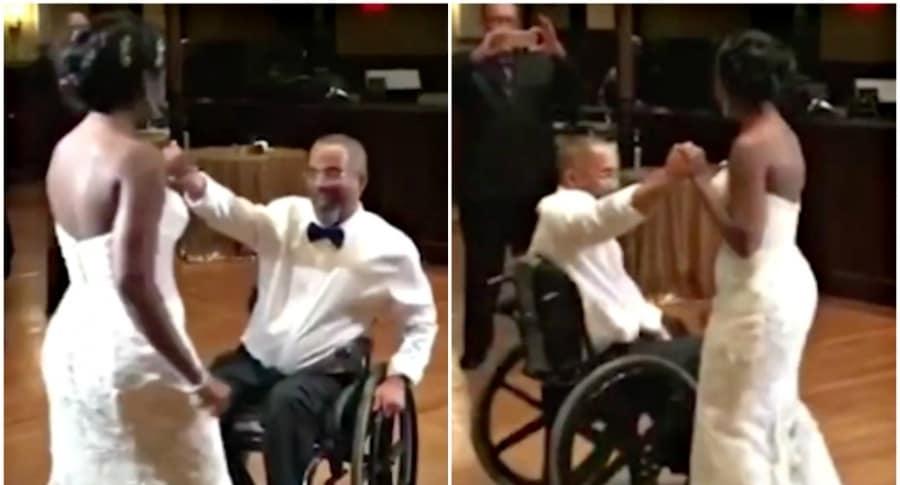 Hombre con parálisis baila con su hija.