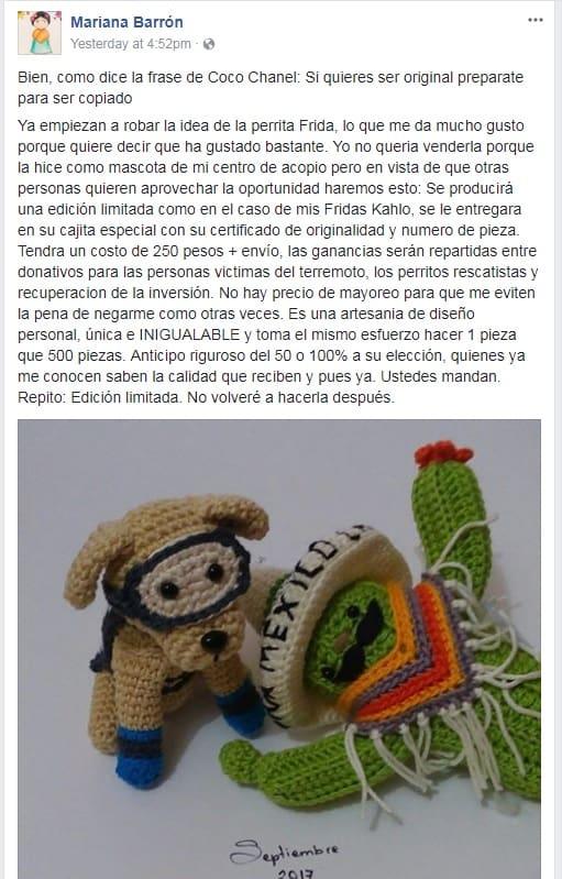 'Post' Facebook Mariana Barrón