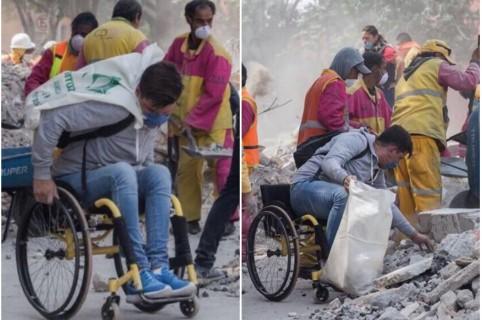 Joven en silla de ruedas que fue voluntario en rescates tras terremoto en México. Pulzo.