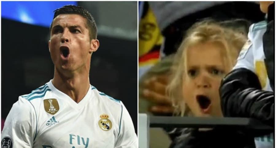 Niña imita celebración de Cristiano Ronaldo.