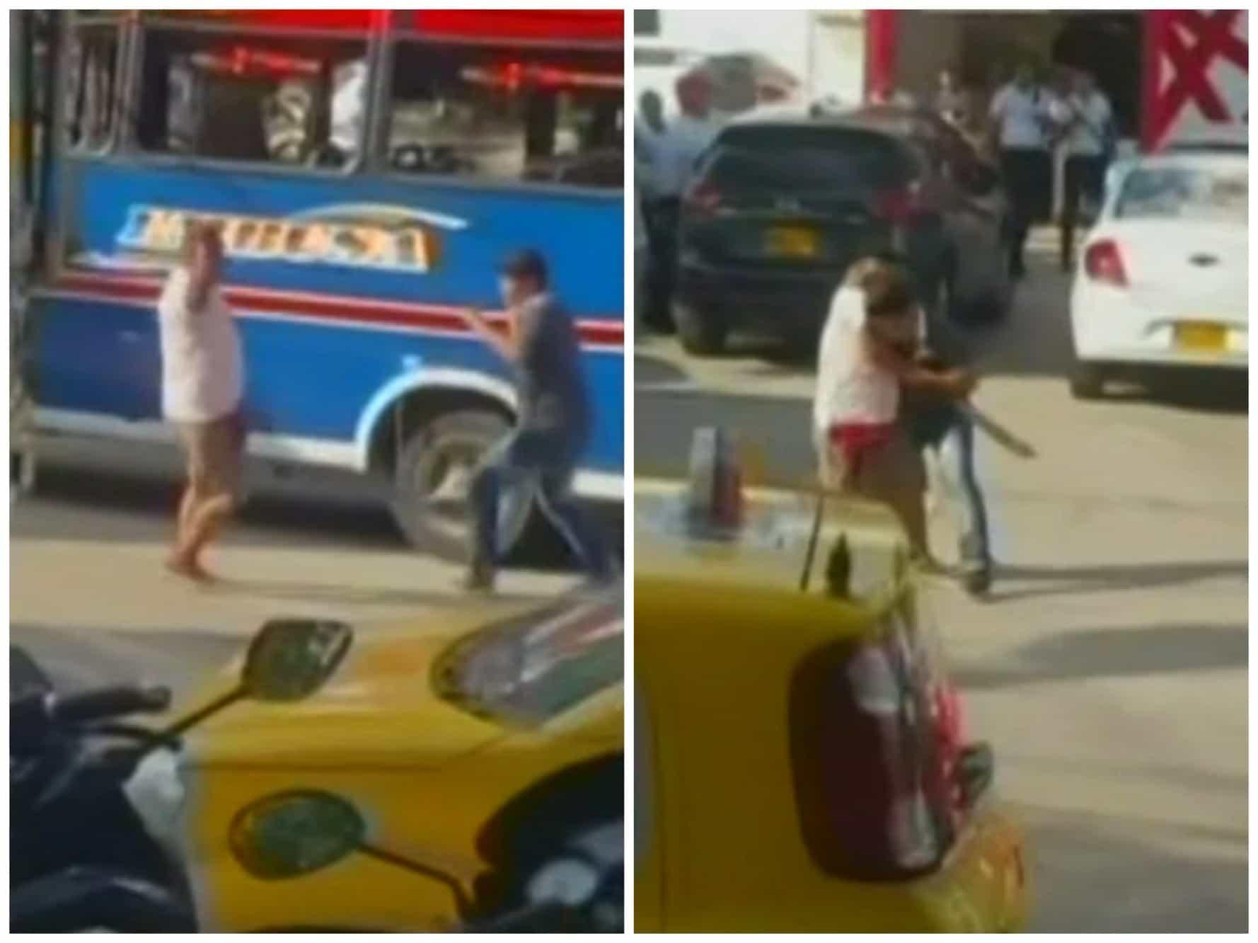 Conductores de bus peleando con un machete en Barranquilla. Pulzo.