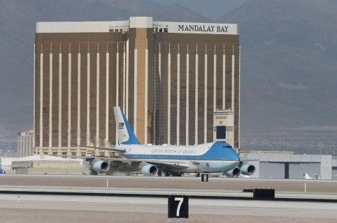 Avión presidencial cerca al hotel Mandalay Bay