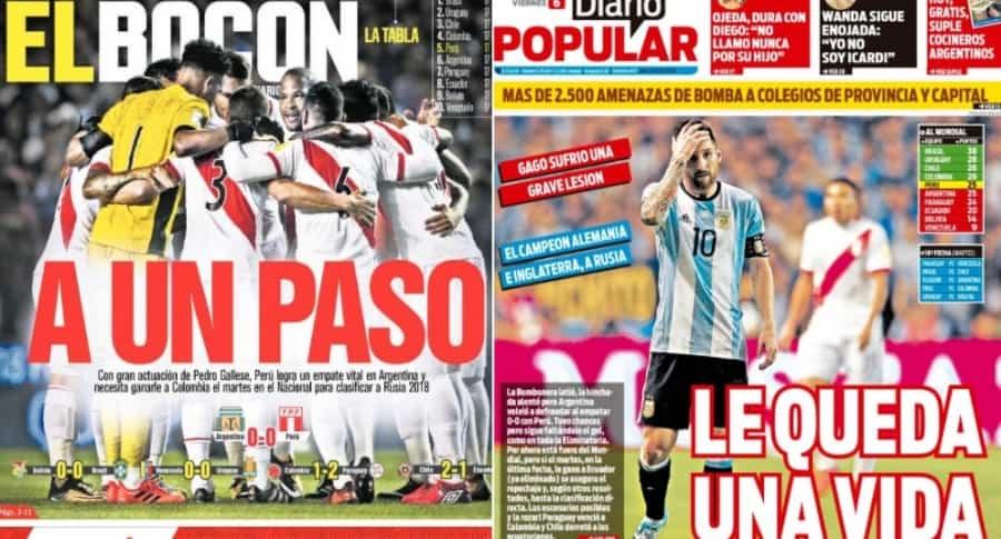 Portadas de medios de Perú y Argentina