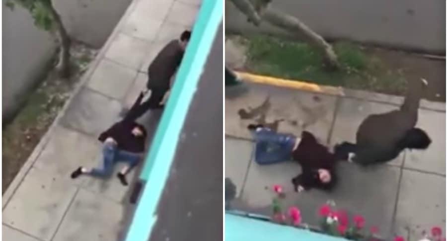 Mujer arrastrada por el novio.