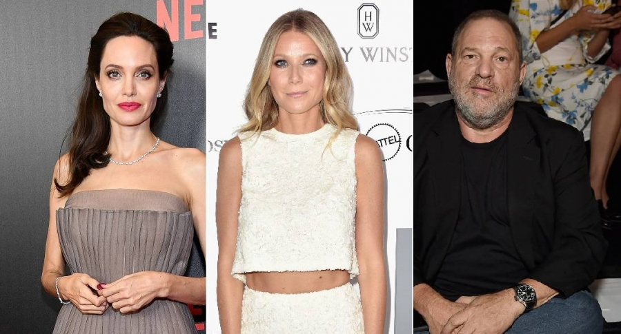Las actrices Angelina Jolie y Gwyneth Paltrow, y el productor de cine Harvey Weinstein.