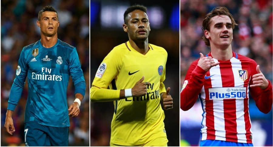 Cristiano Ronaldo, Neymar y Antoine Griezmann. Pulzo.