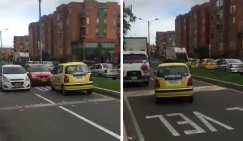 Taxista conduciendo en contravía