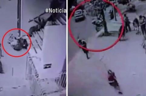 Momento de la balacera frente a banco, en el centro de Bogotá