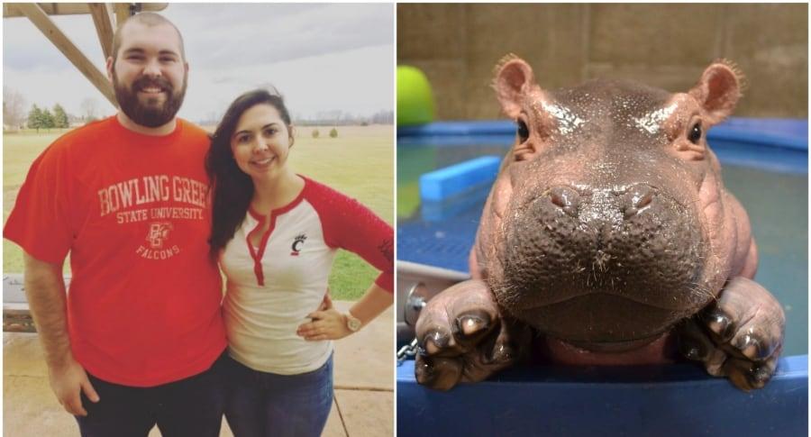 Pareja y la hipopótama Fiona. Pulzo.