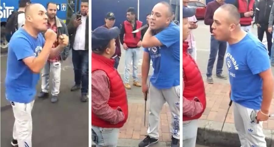Taxista se enfrenta a manifestantes en pleno paro, en Bogotá
