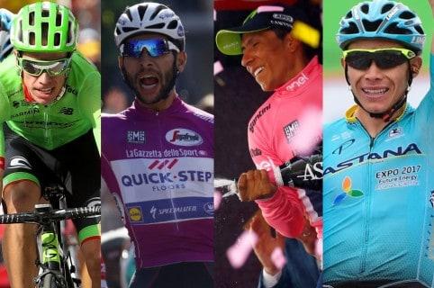 Rigoberto Urán, Fernando Gaviria, Nairo Quintana y Miguel Ángel López