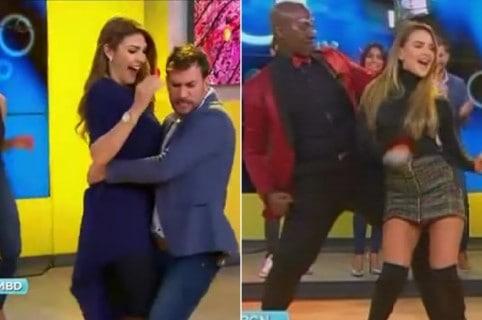 Las presentadora Ana Karina Soto y Ximena Córdoba bailando con Dj Shirry y el bailarín Camilo Zamora, en 'Muy buenos días'.