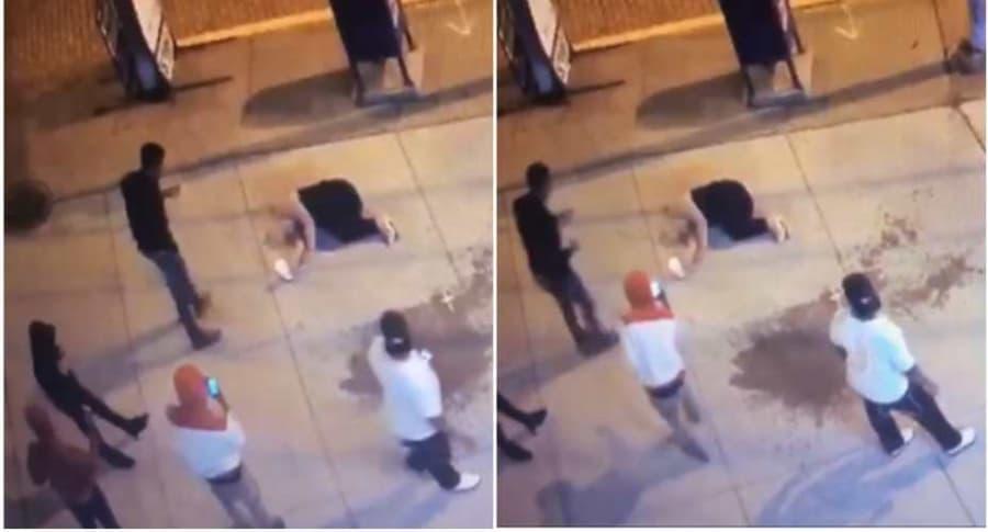 Jóvenes toman fotos a mujer inconsciente en la calle.