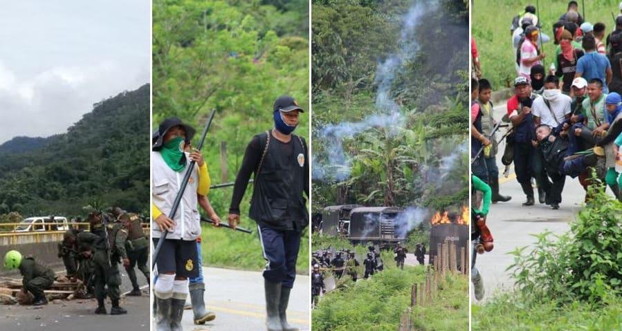 Policías e indígenas