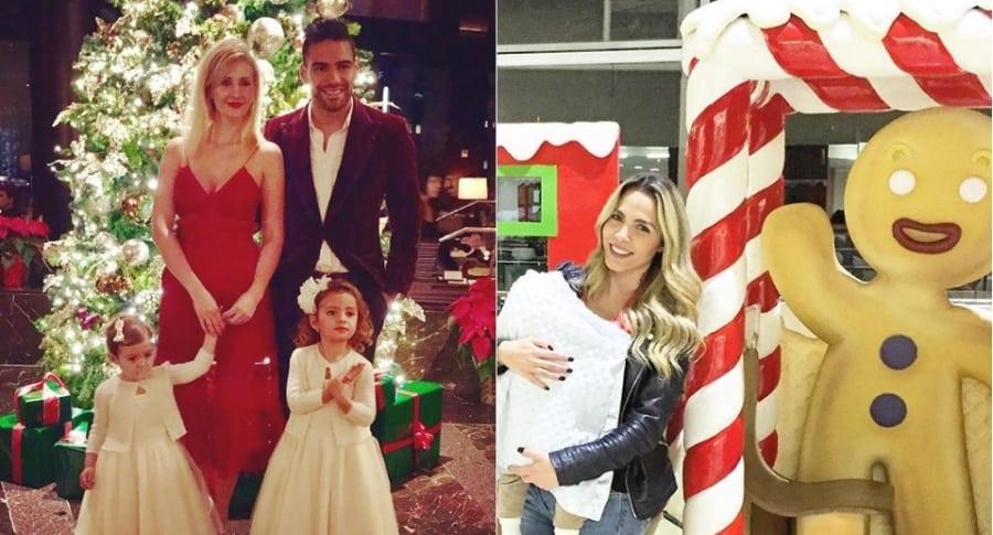 El futbolista Falcao García, junto a su esposa Lorelei Tarón y sus hijas; y la presentadora Mabel Cartagena con su hijo.