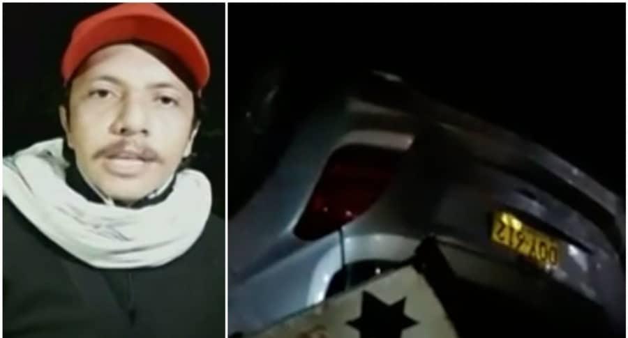 Harvey Morales, imitador de Joan Sebastian, y su carro accidentado. Pulzo.