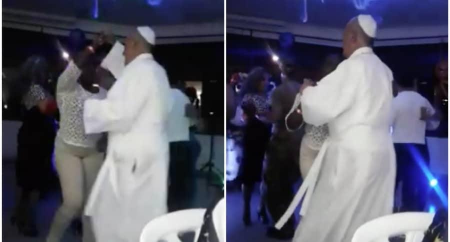 Hombre disfrazado como papa Francisco baila merengue. Pulzo.
