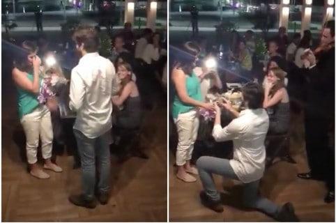 Propuesta de matrimonio en restaurante. Pulzo.