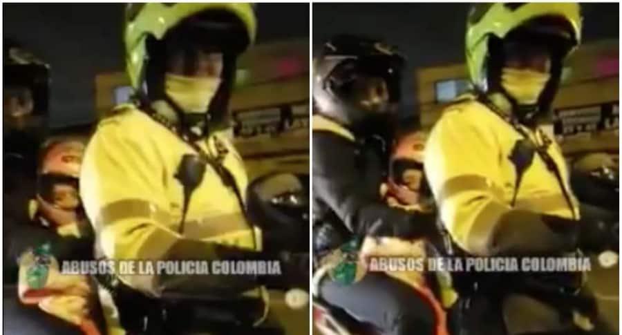 Policía carga a mujer y niña en su moto.