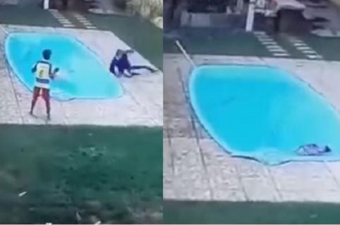Joven cae a piscina