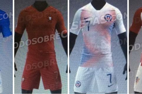 Anticipan diseños de camisetas de Brasil, Portugal, Francia