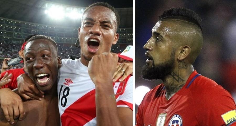 Jugadores peruanos y Arturo Vidal
